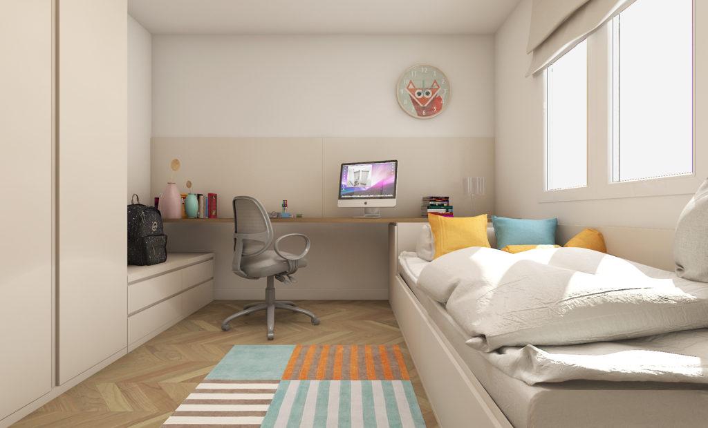 zona de estudio en dormitorio juvenil