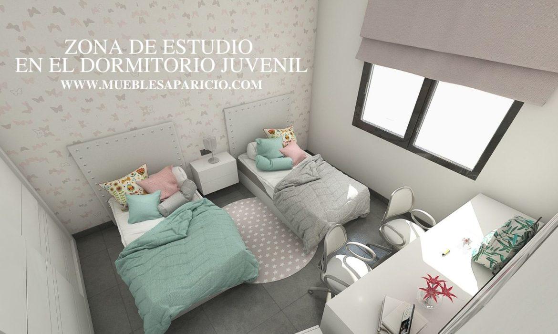 zona de estudio en el dormitorio juvenil